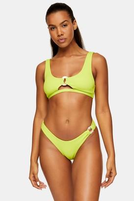 Topshop Lime Green Ribbed Cut Out Crop Bikini Top