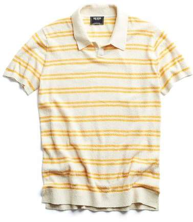 Todd Snyder Striped Boucle Polo in Cream