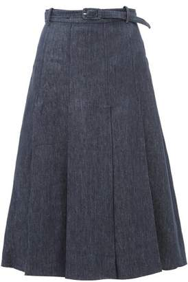 Gabriela Hearst Herbert Pleated Linen-denim Skirt - Womens - Denim