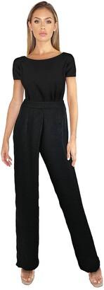 Little Mistress Melle Black Satin Wide-Leg Trousers Co-ord 10 UK Black