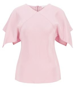 HUGO BOSS V Neck Top In Pure Silk With Flared Sleeves - Light Purple