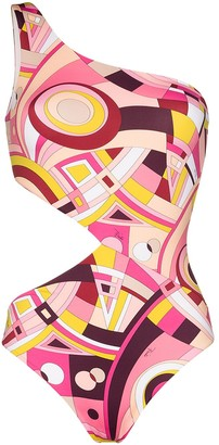 Emilio Pucci x Browns 50 geometric-print cut-out swimsuit