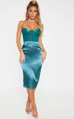 PrettyLittleThing Lead Grey Satin Midi Skirt