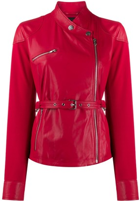 Pinko belted zip-up biker jacket