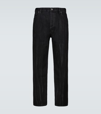 Valentino Straight-fit cropped textured jeans