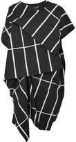 Junya Watanabe Marimekko Tiiliskivi Asymmetric Printed Cotton-canvas Midi Dress - Black