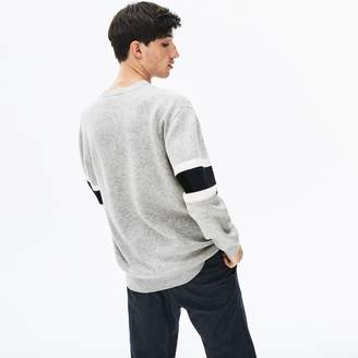 Lacoste Men's Crewneck Striped-Sleeve Heathered Jacquard Sweater