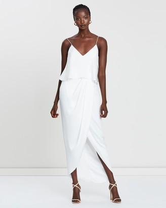 Shona Joy Women's White Midi Dresses - Draped Cocktail Frill Dress - Size 8 at The Iconic