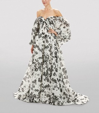 Monique Lhuillier Daisy Off-The-Shoulder Puff-Sleeved Gown