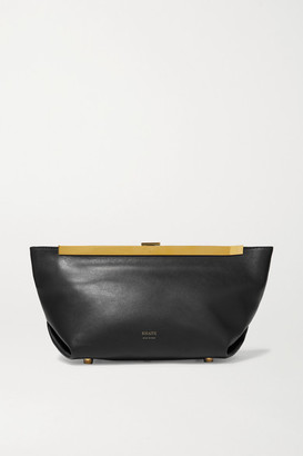 KHAITE Envelope Pleat Leather Clutch - Black