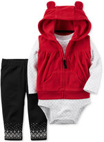 Carter's 3-Pc. Hooded Vest, Bodysuit & Leggings Set, Baby Girls (0-24 months)