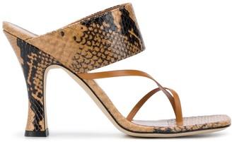 Paris Texas Snakeskin-Print Heeled Sandals