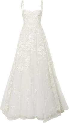 Isa Belle Isabelle Armstrong Luna Floral Embroidered Tulle Ballgown