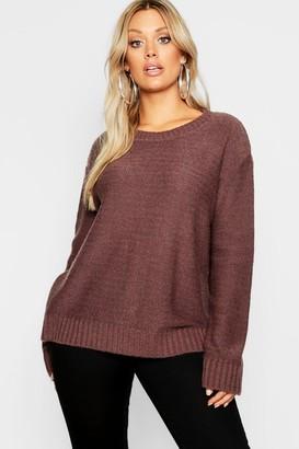 boohoo Plus Oversized Rib Cuff Soft Knit Sweater