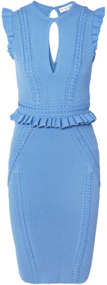 Rebecca Vallance Majorca Ruffle-trimmed Knitted Dress