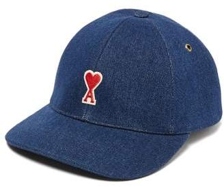 Ami Logo-embroidered Cotton-denim Baseball Hat - Mens - Blue