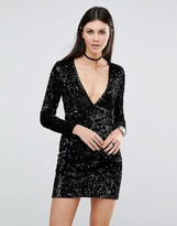 Motel Meli Bodycon Dress In Iridescent Sequin With Plunge Neck