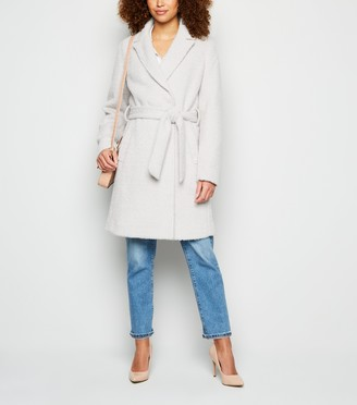 New Look Light Fluffy Dogtooth Belted Long Coat