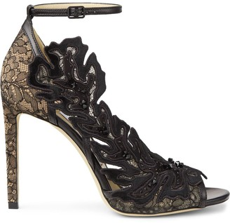 Jimmy Choo Lucele 100mm lace-embellished sandals