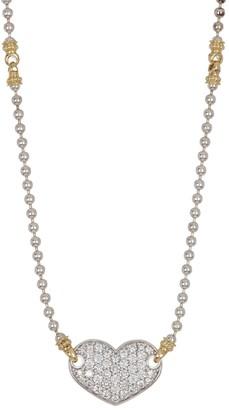 Lagos 18K Gold & Sterling Silver Diamond Interlocking Heart Pendant Necklace