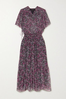 Isabel Marant Odelia Tiered Floral-print Silk-chiffon Midi Dress - Charcoal