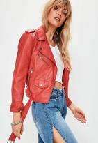 Missguided Red Ultimate Faux Leather Biker Jacket, Red