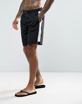 New Look Swim Shorts With Side Panel In Black