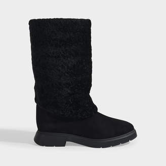 Stuart Weitzman Luiza Chill Turn-Up Boots In Black Suede And Shearling