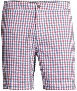 Onia Calder Gingham Flat Front Shorts