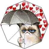 COLORSFORU Grumpy Cat Hold Umbrella In The Heart Rain Foldable Umbrella Rain Umbrella