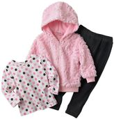 Little Lass sequined faux-fur jacket set - baby