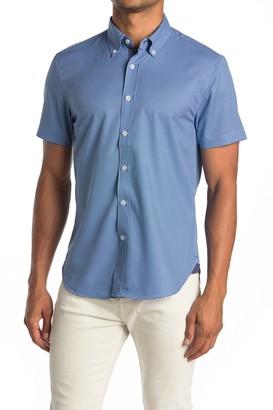 Construct Geo Print Short Sleeve Slim Fit 4-Way Stretch Shirt