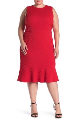 Maggy London Trim Detail Flounce Hem Sheath Dress (Plus Size)