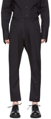 Sulvam Black Wool Sick Bandage Pants