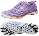 BAGGII Men Women Lightweight Slip On Water Shoes Quick Drying Mesh Running Aqua Shoes (W-8.5,39-Black)