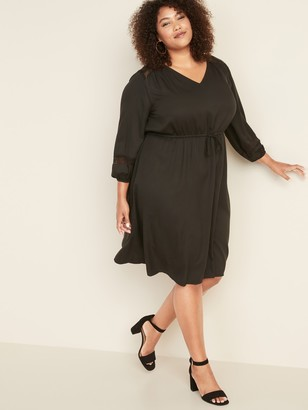 Old Navy Plus-Size Waist-Defined Lace-Sleeve V-Neck Dress