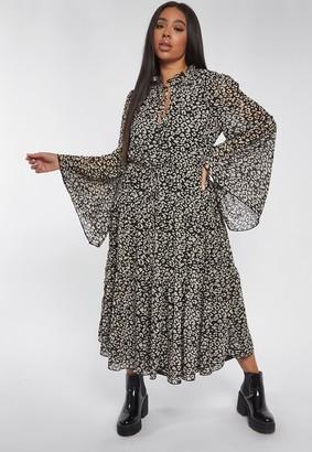 Missguided Plus Size Black Dalmatian Print Keyhole Frill Maxi Dress