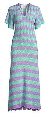 Victor Glemaud Women's Short-Sleeve Striped Scalloped Crochet Midi Dress