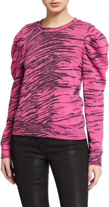 Pam & Gela Tiger-Print Puff-Sleeve Sweatshirt