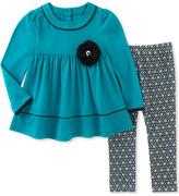 Kids Headquarters Blue Babydoll Tunic & Geometric Leggings - Toddler & Girls