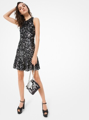Michael Kors Sequined Stretch-Tulle Flare Dress