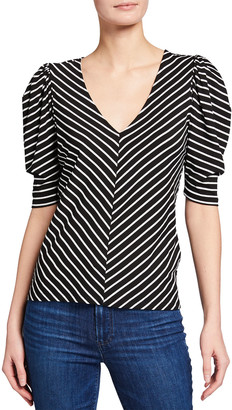 Frame Striped V-Neck Shirred Short-Sleeve Top