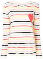 Chinti and Parker Stripe Heart Patch Sweater