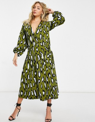 ASOS DESIGN oversized long-sleeved midi smock with drop waist in khaki and black leopard