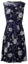 Dorothy Perkins Womens Izabel London Navy Floral Print Ribbon Belt Dress, Navy