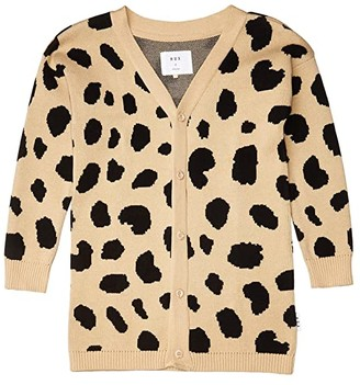 HUXBABY Animal Spot Knit Cardi (Little Kids/Big Kids) (Sand) Girl's Clothing