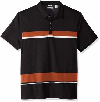 Calvin Klein Men's Liquid Touch Stripe Polo Black/Cellar XX-Large