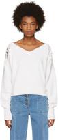 Chloé White Lace Shoulder V-neck Sweater