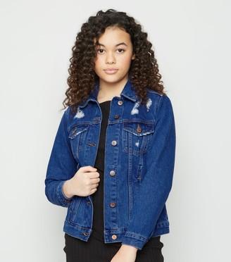 New Look Girls Bright Ripped Oversized Denim Jacket