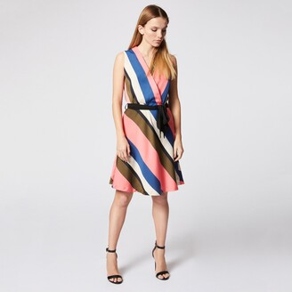 Morgan Rubie Short Striped Wrapover Dress with Tie-Waist